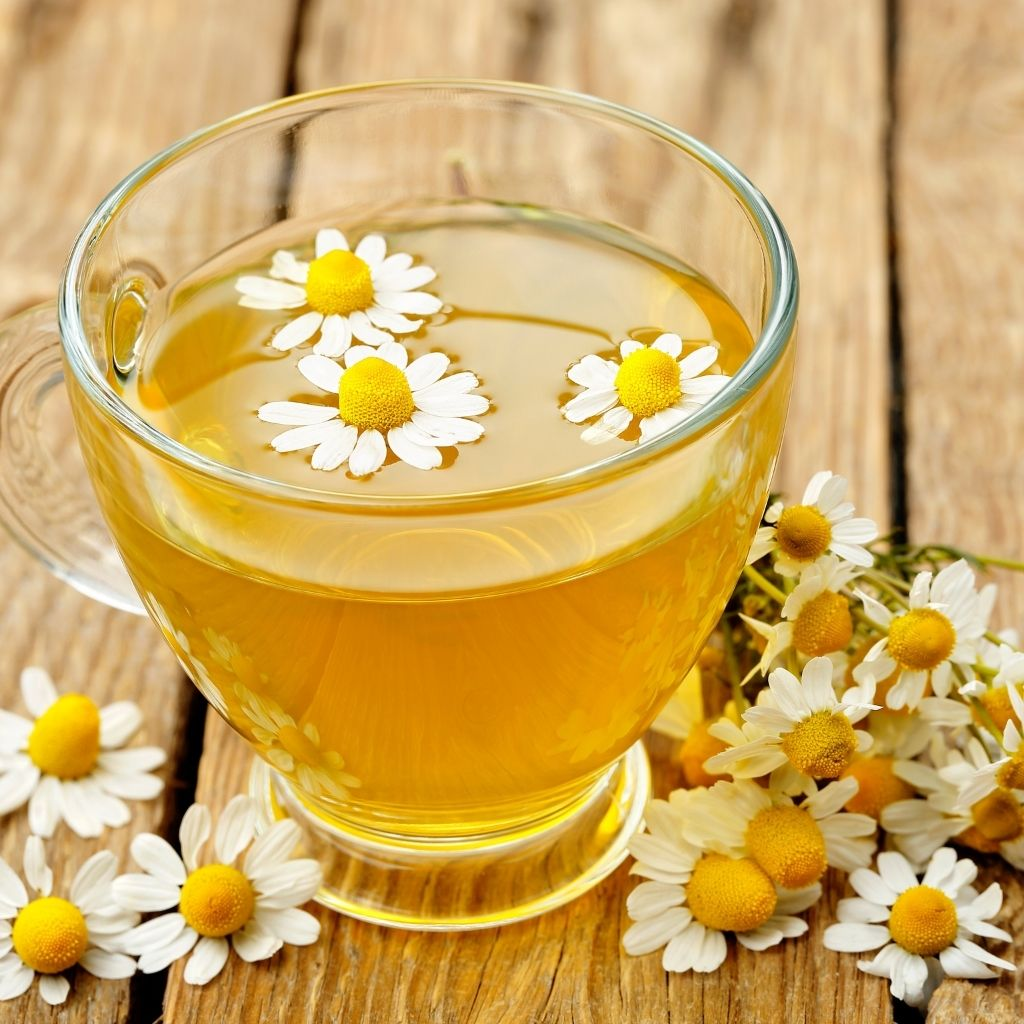 Cup of chamomile tea in a clear, glass teacup surrounded by chamomile flowers on a wooden table top